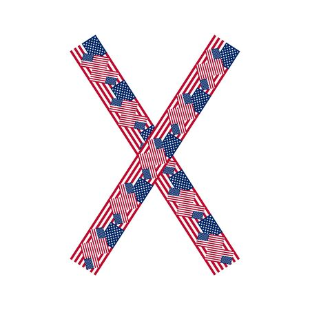 Letter X made of USA flags on white background from USA flag collection