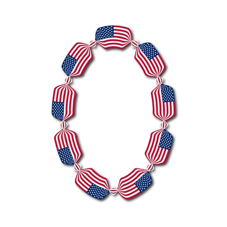 Number 0 made of USA flags in form of candies on white background,  Illustration  Stock Vector - 14771132