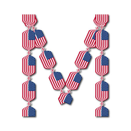 Letter M made of USA flags in form of candies on white background  Illustration