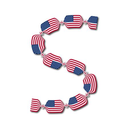Letter S made of USA flags in form of candies on white background  Vector