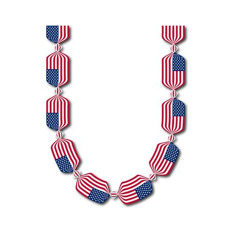 Letter U made of USA flags in form of candies on white background
