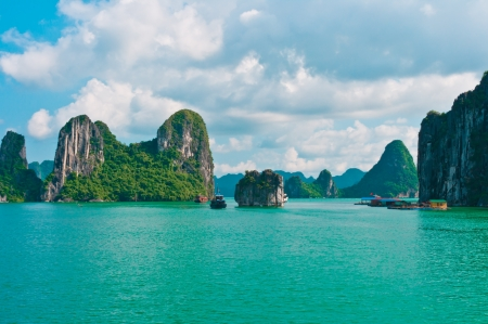 Rock islands in Halong Bay, Vietnam, Southeast Asia