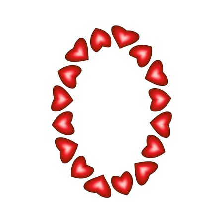 Number 0 made of hearts on white background Stock Vector - 15139213