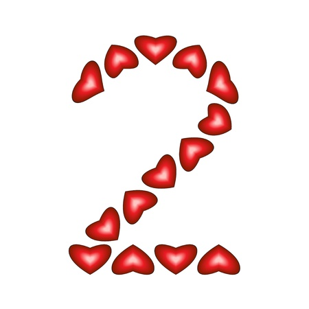 Number 2 made of hearts on white background
