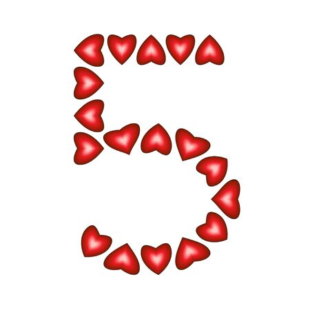 Number 5 made of hearts on white background  Stock Vector - 15139207