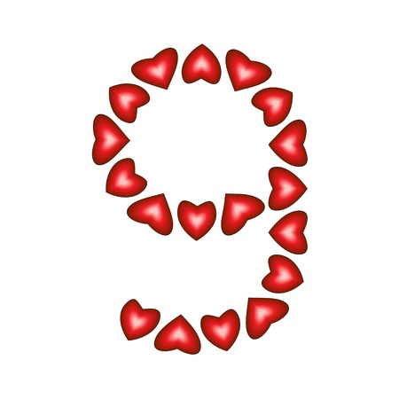 Number 9 made of hearts on white background Stock Vector - 15139218