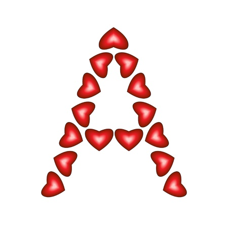 single word: Letter A made of hearts on white background