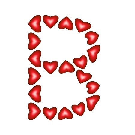 Letter B made of hearts on white background  Vector