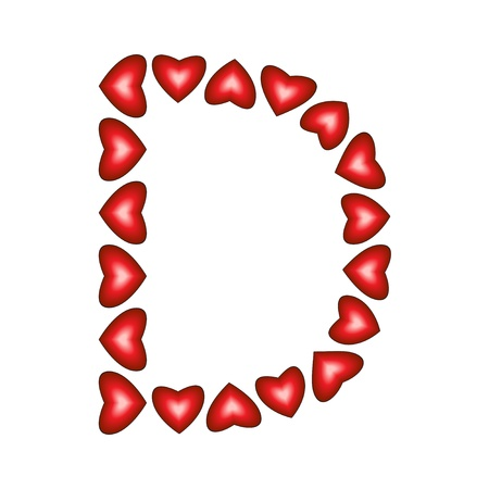 Letter D made of hearts on white background  Illustration