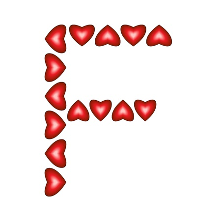 Letter F made of hearts on white background Stock Vector - 15139069