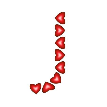Letter J made of hearts on white background  Illustration