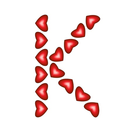 Letter K made of hearts on white background Stock Vector - 15139072
