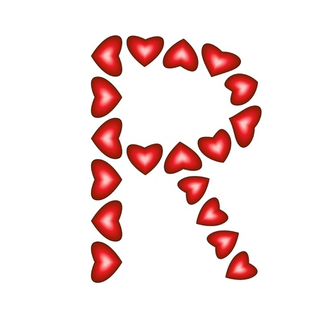 Letter R made of hearts on white background