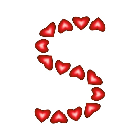 Letter S made of hearts on white background