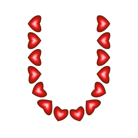 Letter U made of hearts on white background