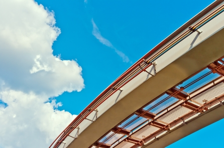 View of monorail on blue sky background photo