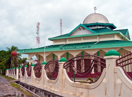 prayer tower: View of islamic mosque in Balai island, Banyak Archipelago, Indonesia