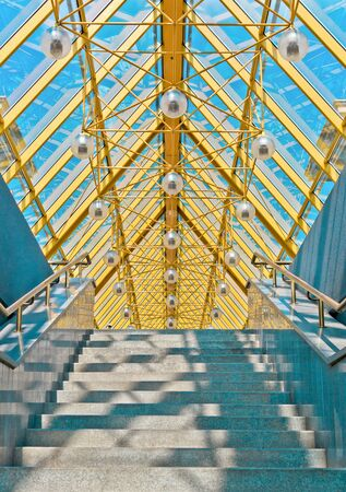 elevated walkway: Entrance to a modern pedestrian bridge, Moscow, Russia, East Europe Stock Photo