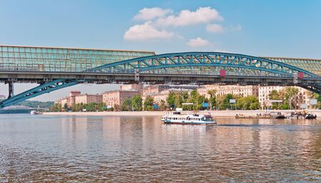 Modern pedestrian bridge over the Moscow River, Moscow, Russia photo