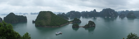 Panorama of Halong Bay, Vietnam, Southeast Asia Stock Photo