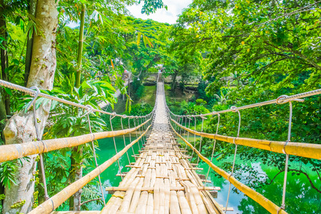 Bamboo pedestrian suspension bridge over river in tropical forest, Philippines