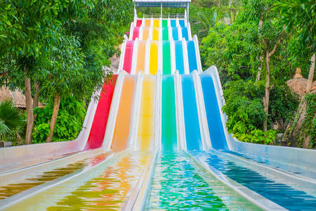 Colorful waterslides in water park, Vietnam, Southeast Asia photo