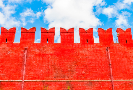Red brick wall of the Moscow Kremlin, Russia Editorial