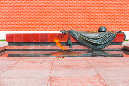 tomb unknown soldier: Eternal Flame and Tomb Of The Unknown Soldier, Kremlin, Moscow, Russia Stock Photo