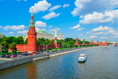 Ansicht des Moskauer Kreml und Moskwa, Russland Editorial
