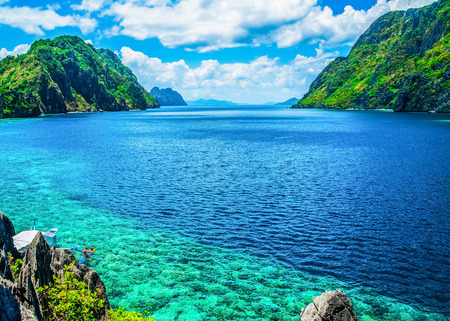 with ocean: Scenic view of sea bay and mountain islands, Palawan, Philippines Stock Photo