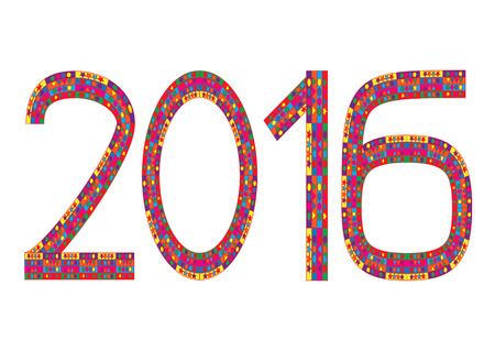0 1 year: Multi colored numbers of year 2016 on white background Illustration