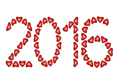 january 1: New Year 2016 made from hearts isolated on white background