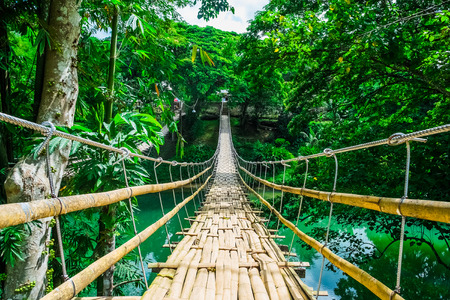 Bamboo pedestrian suspension bridge over river in tropical forest, Bohol, Philippines