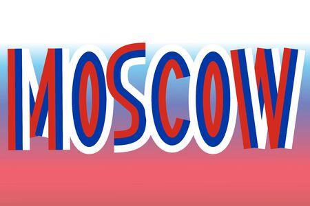 federation: Moscow inscription made in colors of russian flag
