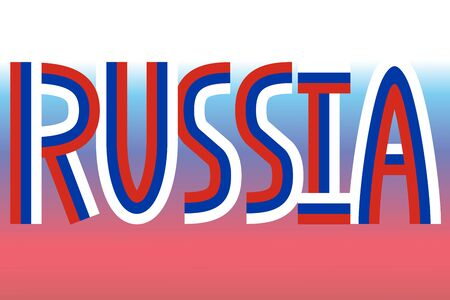 made in russia: Russia inscription made in colors of russian flag