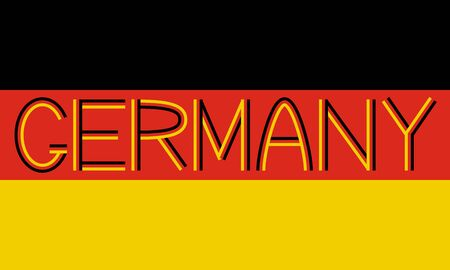 proportions: German flag in correct proportions and colors with word Germany