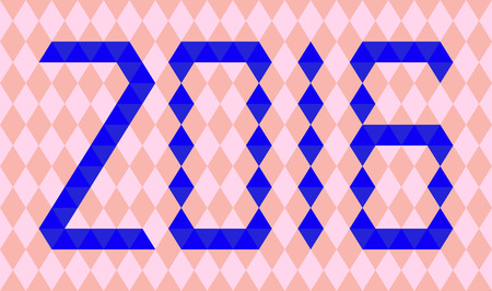 0 1 year: Blue numbers of year 2016 made from triangles on abstract background