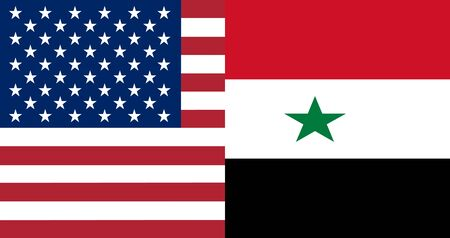 syrian: American and Syrian flags together in correct colors