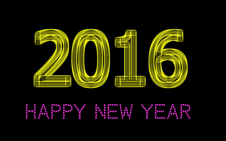 0 1 year: 2016 Happy New Year greeting card on black background