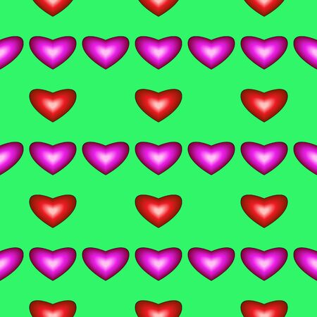 fillings: Seamless pattern with hearts on green background Illustration