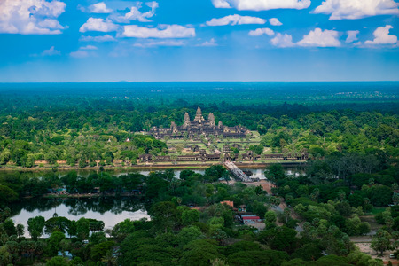 Beautiful aerial view of Angkor Wat Temple, Cambodia, Southeast Asia Banco de Imagens