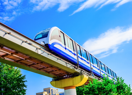 monorail: Electric monorail train modern public transport, Moscow, Russia, Europe