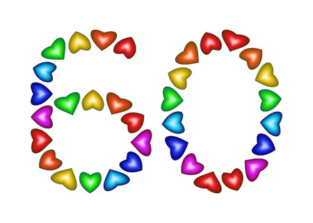 60th: Number 60 made of multicolored hearts on white background