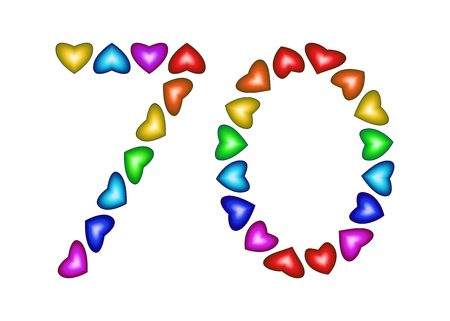 70: Number 70 made of multicolored hearts on white background
