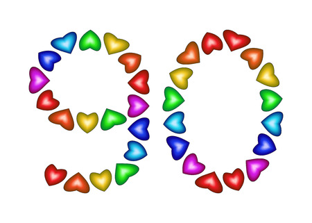 90th: Number 90 made of multicolored hearts on white background
