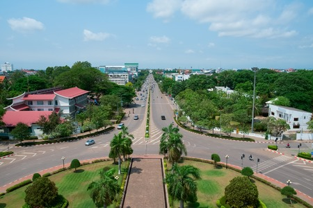 southeast: Aerial view of Vientiane from Patuxai Monument, Laos, Southeast Asia Stock Photo