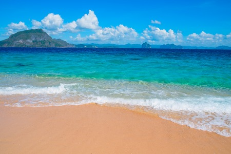 nido: Tropical sand beach, El Nido, Palawan, Philippines, Southeast Asia Stock Photo