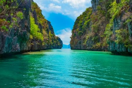 palawan: Beautiful tropical landscape with blue lagoon and mountain islands, El Nido, Palawan, Philippines Stock Photo
