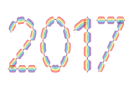 january 1: New Year 2017 made in rainbow colors on white background