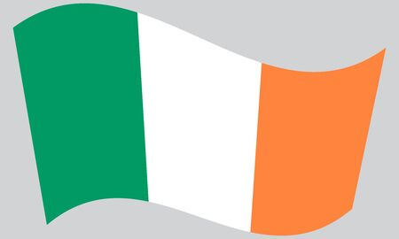 irish pride: Flag of Ireland waving on gray background Illustration